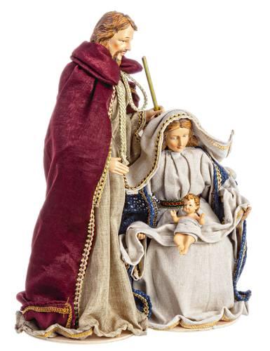 Nativita' sacra in tessuto velluto rosso e blu 41h