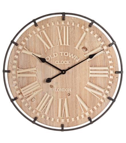 Orologio legno natural sbiancato e metallo cm60