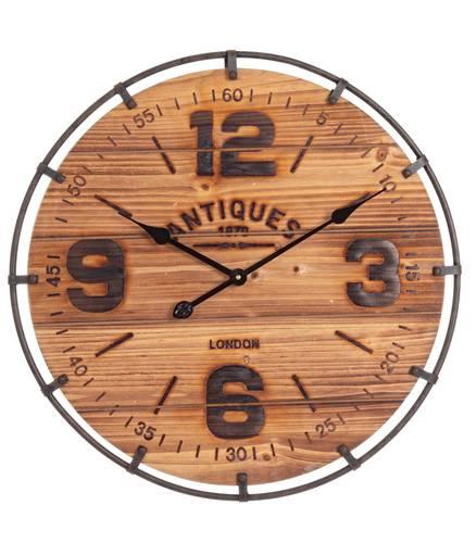 Orologio legno naturale e metallo cm60