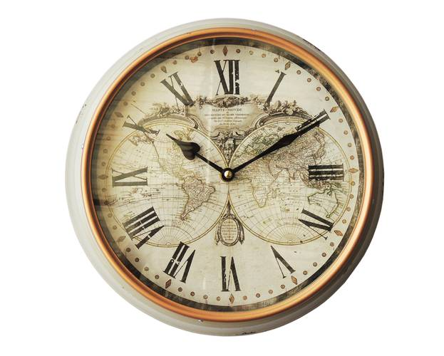 Orologio metallo bianco parete mappa globi cm 31