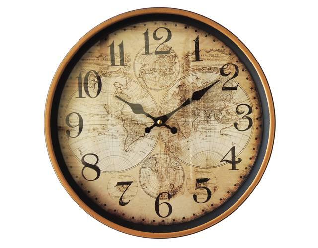 Orologio metallo nero parete mappa globi cm 31