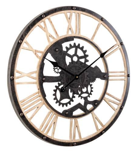 Orologio parete legno ingranaggio nero cm60