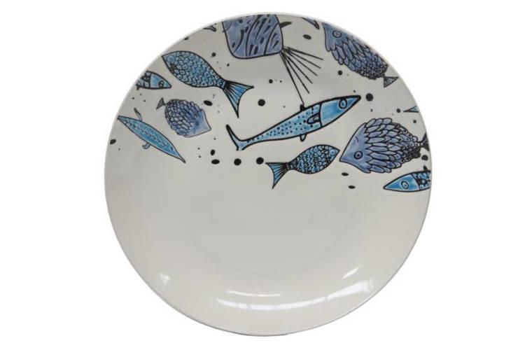 Piatto piano pesci azzurri
