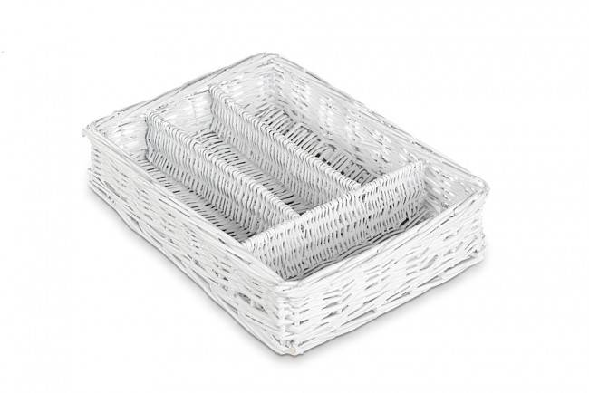 Portaposate intreccio vimini bianco da cassetto con divisorie