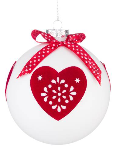 Pallina albero bianca con cuore rosso 10cm