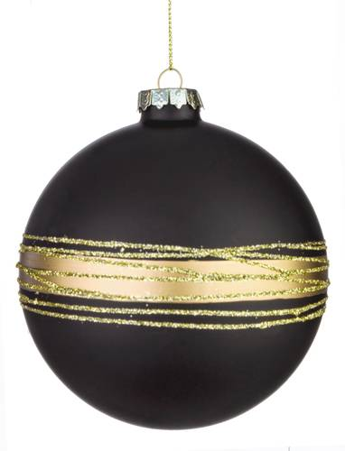Pallina albero nera vetro cerchi oro cm 10
