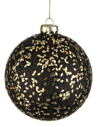 Pallina albero nera vetro glitter oro cm 10