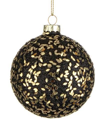 Pallina albero nera vetro glitter oro cm 8