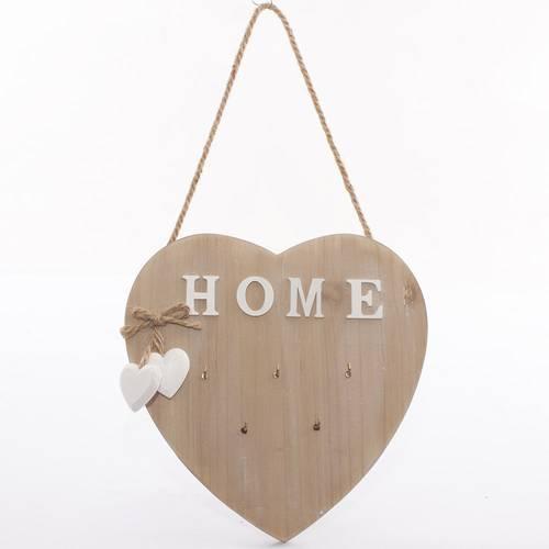 Pannello cuore portachiavi legno naturale Home