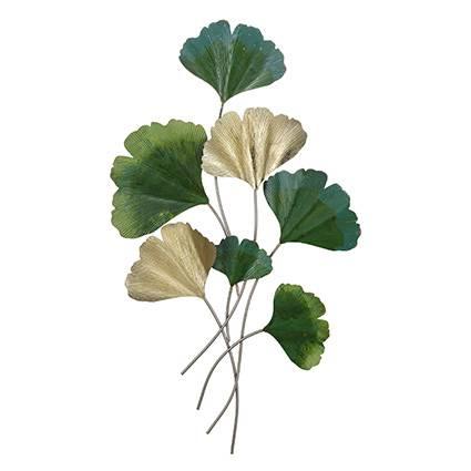 Pannello decorativo tralcio metallo foglie gingko verde
