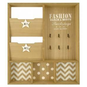 Pannello portachiavi con portaposta legno naturale decori bianchi