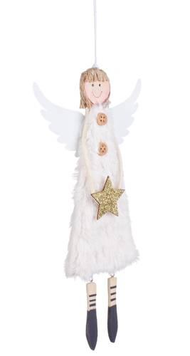 Pendaglio angelo bianco legno stella oro
