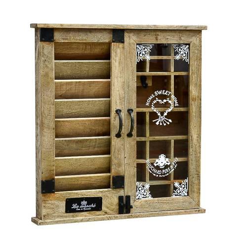 Pensile legno posta e chiavi con 2 ante