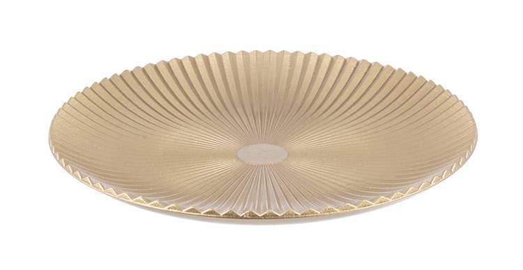Piatto centrotavola legno oro rigato cm40