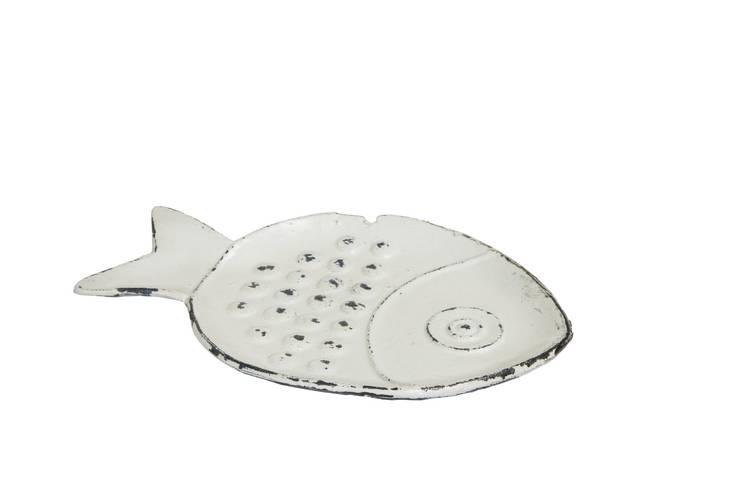 Piatto pesce palla ghisa bianco