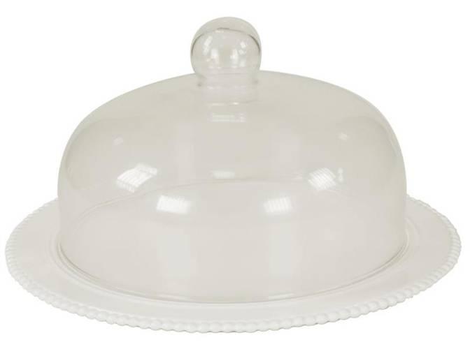 Piatto torta ceramica bordo pallini con campana vetro
