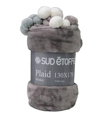 Plaid pon pon morbido vellutato grigio antracite 130x170