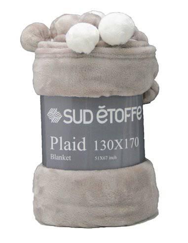 Plaid pon pon morbido vellutato tortora 130x170