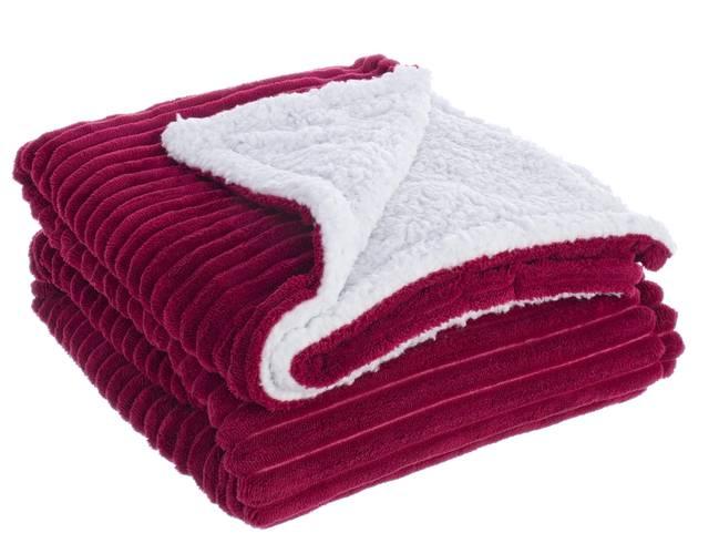 Plaid rosso vellutato interno bianco agnellato 130x160