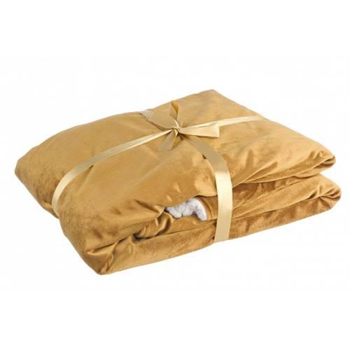 Plaid velluto oro con interno bianco 140x160