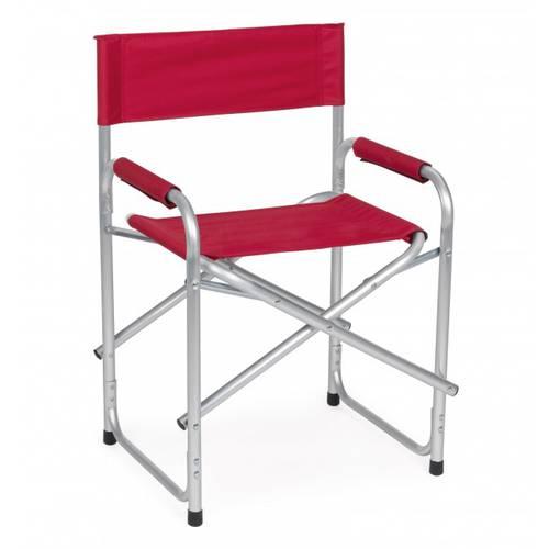Poltrona regista alluminio tela rossa