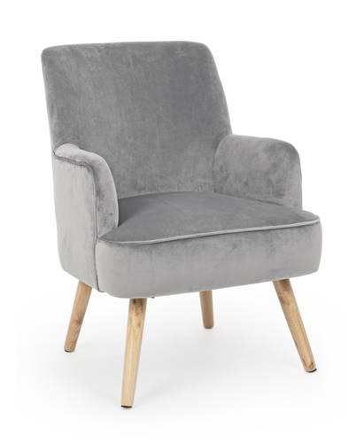 Poltrona velluto grigio gambe in quercia