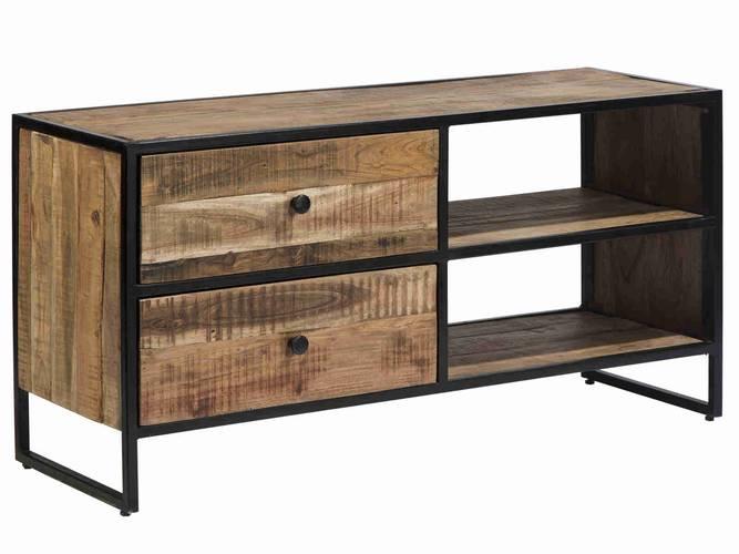 Porta Tv stile industrial legno acacia 2 cassetti
