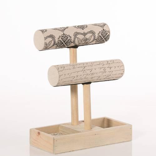 Porta bracciali doppio cilindro con base legno