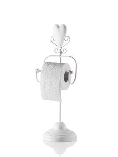 Porta carta igienica da terra ferro bianco con cuore