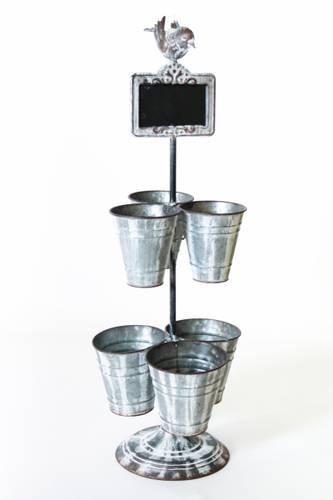 Porta piante metallo zincato 6 vasi