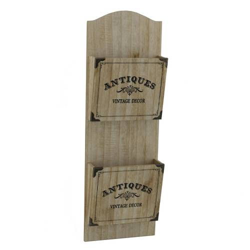 Porta posta legno naturale Antiques da muro due tasche
