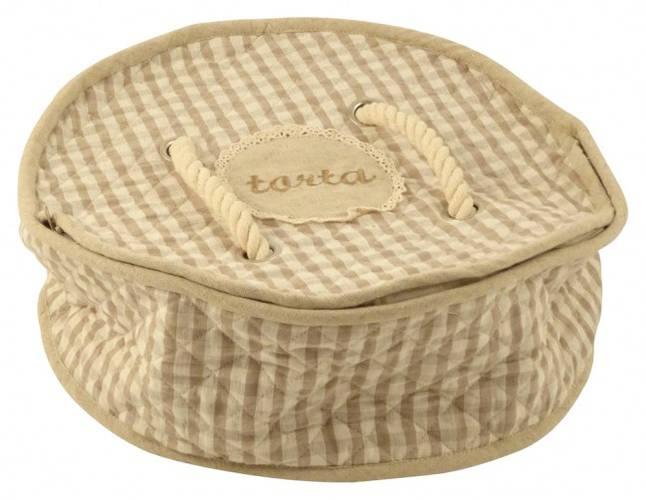 Porta torta tessuto quadretti con cerniera