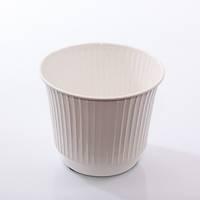 Porta vaso latta bianca righe verticali cm16x13h