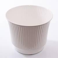 Porta vaso latta bianca righe verticali cm20x17h