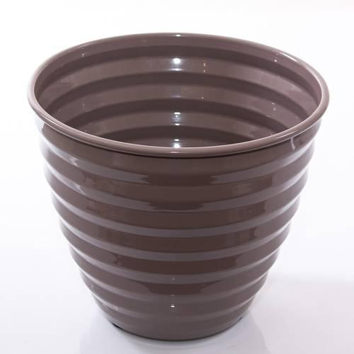 Porta vaso latta grigio smaltato onde cm26x22h