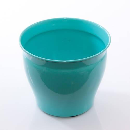 Porta vaso latta turchese cm20x17h