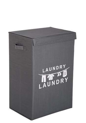 Portabiancheria laundry tessuto grigio con coperchio
