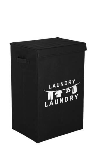 Portabiancheria Laundry tessuto nero con coperchio
