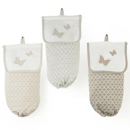 Portaborsine tessuto beige con ricamo farfalle