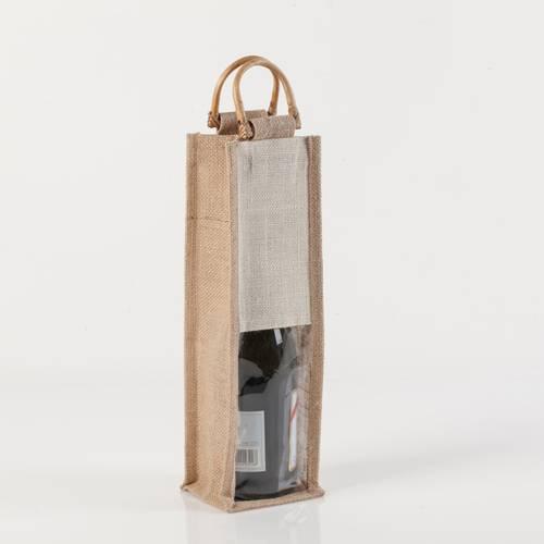 Portabottiglia borsina iuta con manici legno