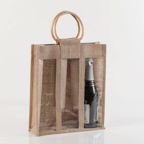 Portabottiglie borsina iuta 3 posti con manico legno