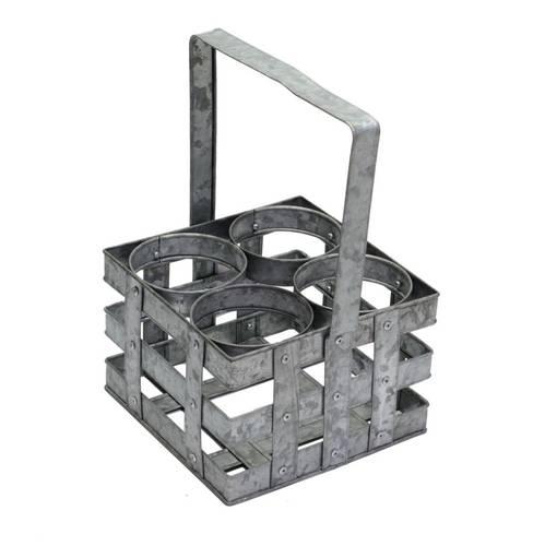 Portabottiglie metallo zincato con maniglia 4 posti
