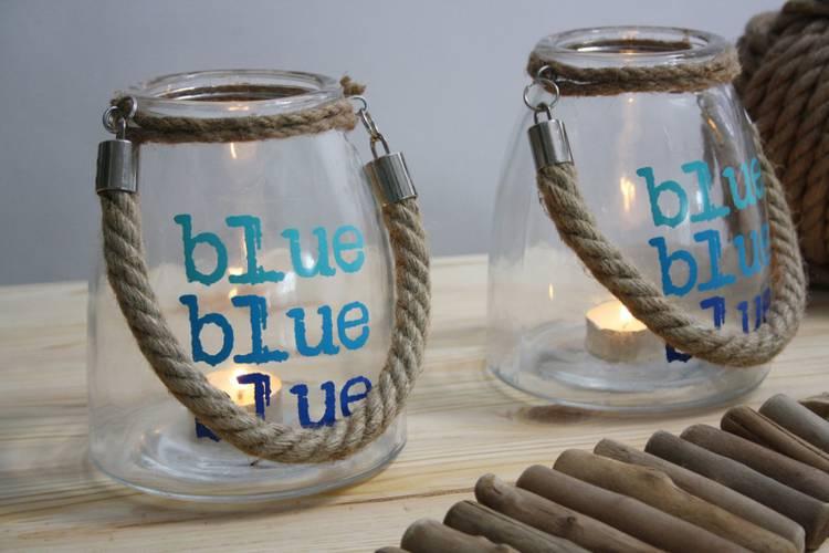 Portacandela marinaro vetro Blue