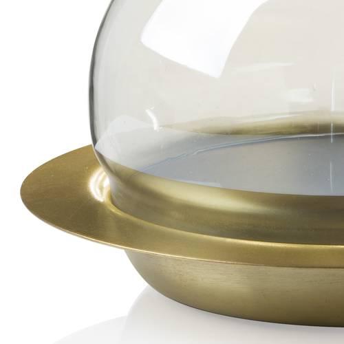 Portacandela piatto metallo oro con sfera vetro