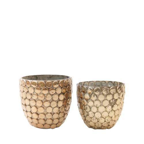 Portacandele bicchiere vetro oro ball