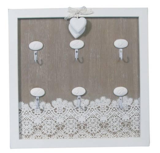 Pannello portachiavi legno grigio decoro trina