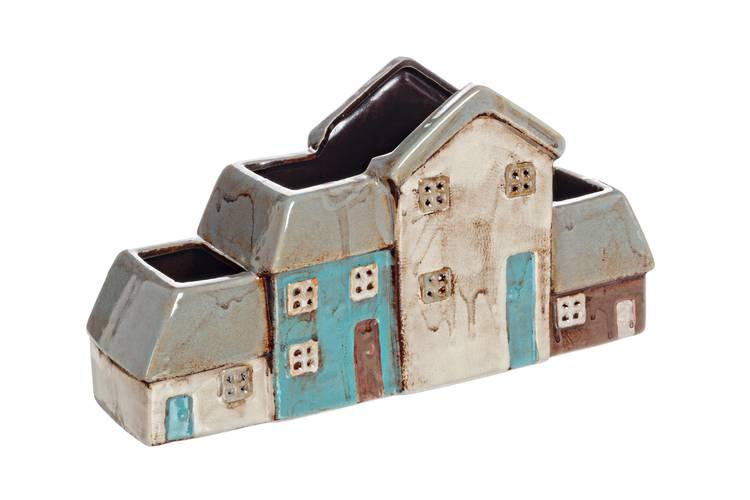 Portafiori casette vaso in ceramica colorata