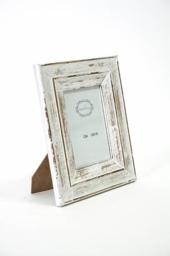 Portafoto legno bianco shabby 13x18