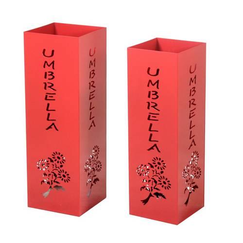 Portaombrelli quadrato metallo rosso scritta Umbrella