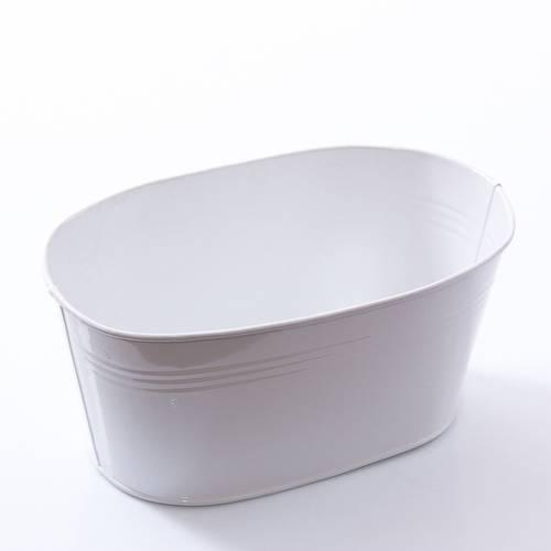 Portavasi ovale latta bianca cm22